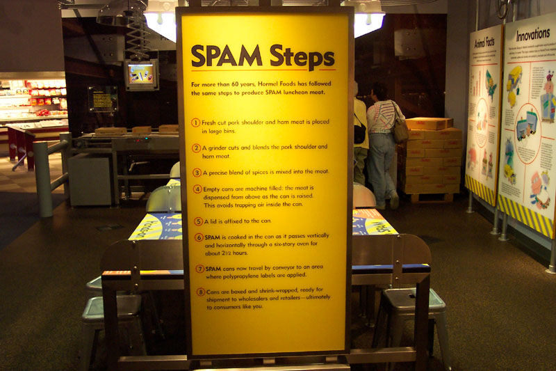 "This ""SPAM Steps"" display answers the age-old question: Just what is SPAM"
